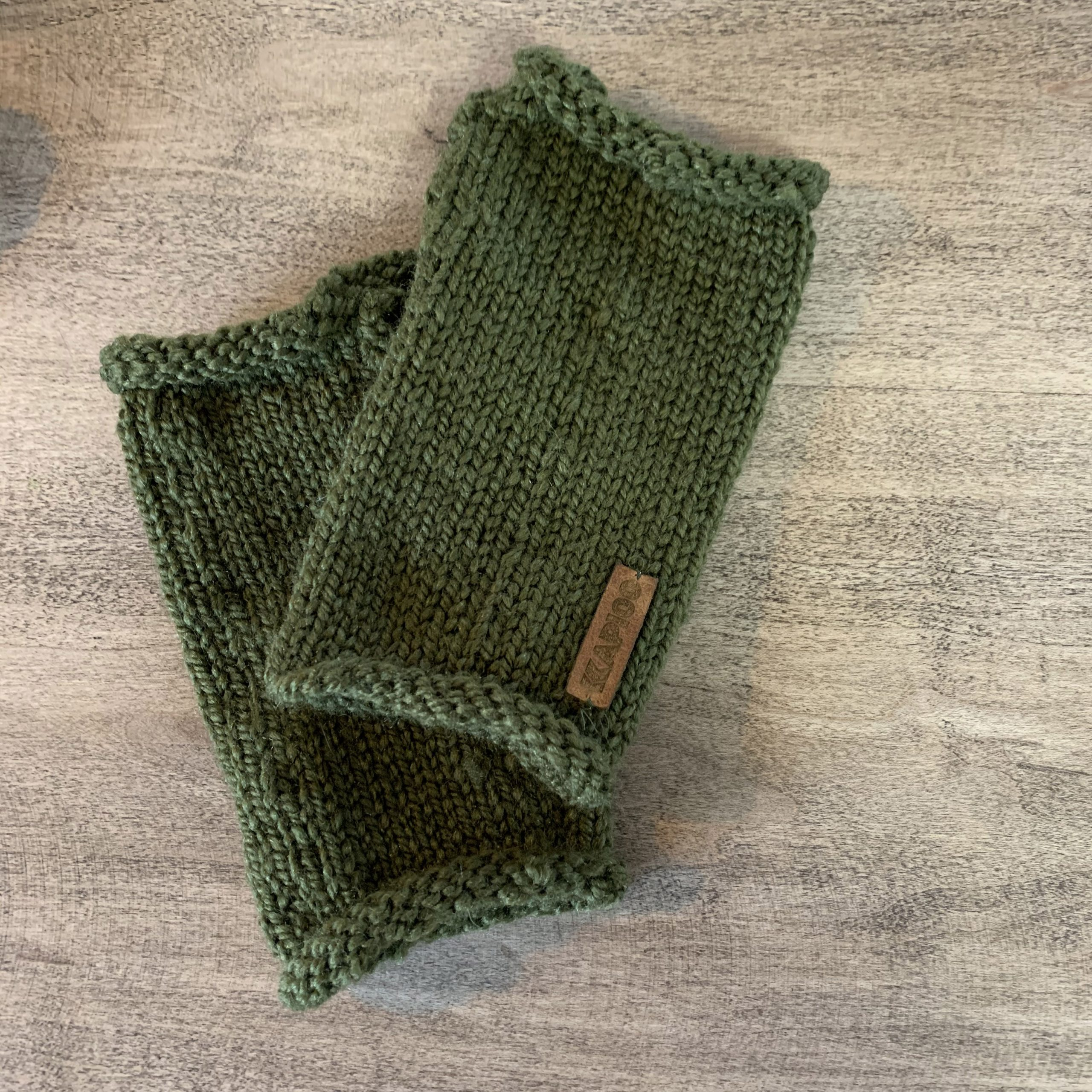 Army green fingerless gloves